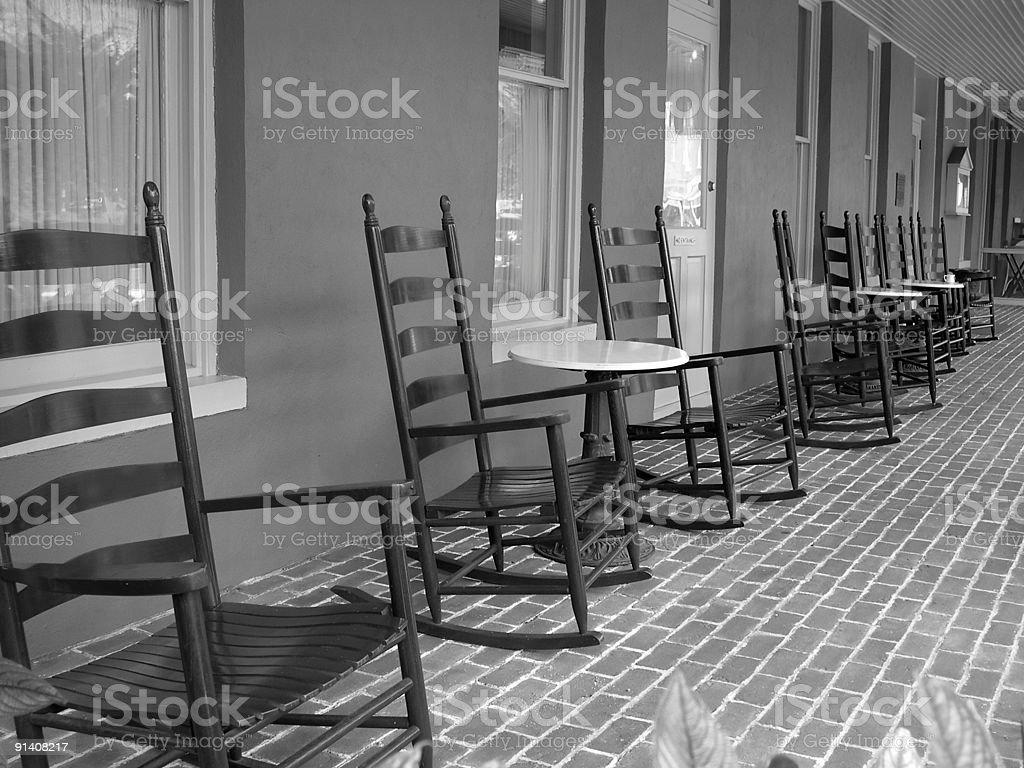 Rocking Chairs on Bricks stock photo