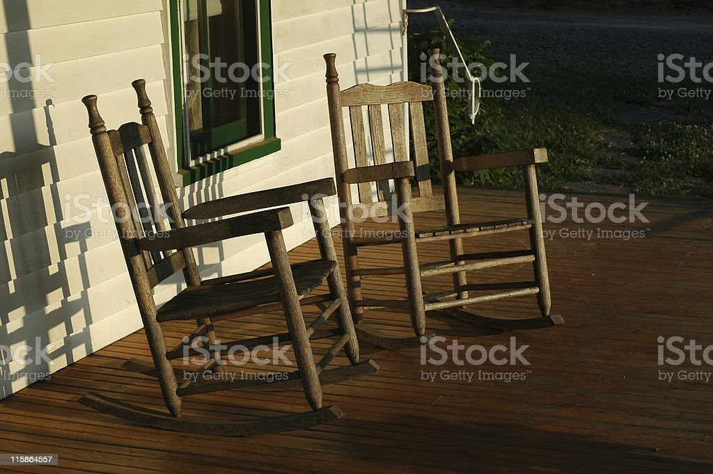 Rocking Chairs On Front Porch Stock Photo