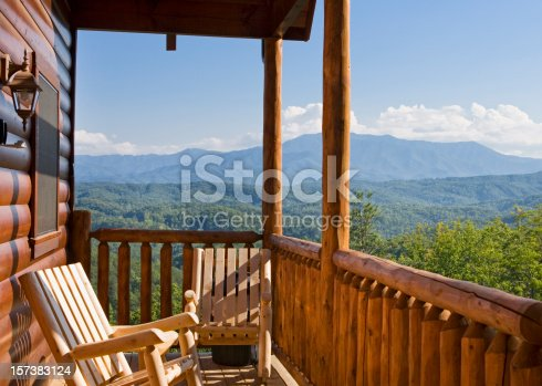 Rocking chairs invite relaxation with a view of the Smoky Mountains.