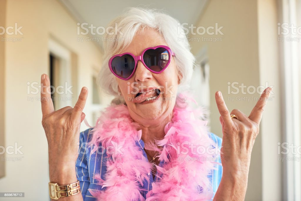 Rocking her retirement stock photo