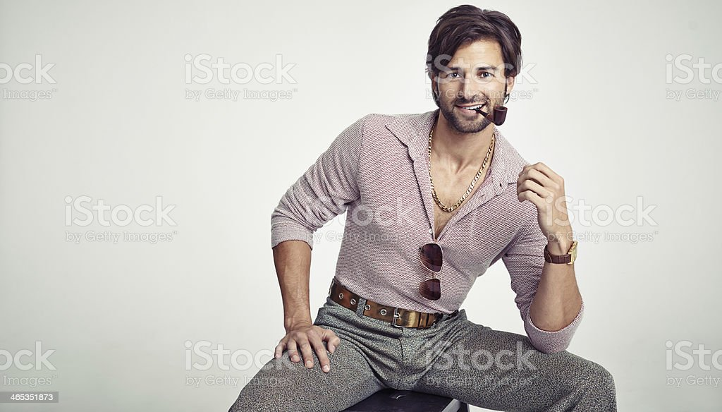 Rocking his retro look royalty-free stock photo