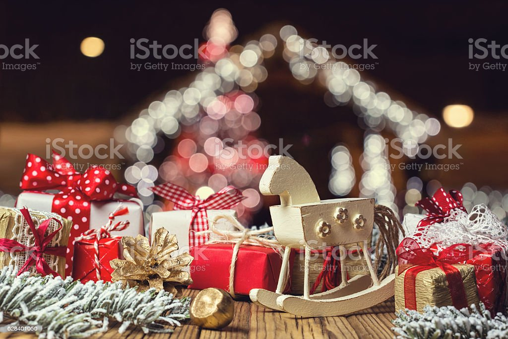 rocking horse and handmade christmas decorations royalty free stock photo