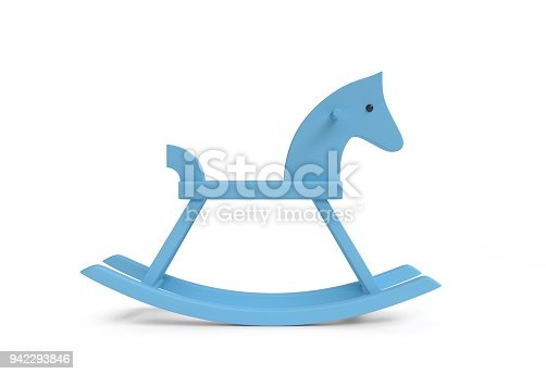 Rocking horse wooden toy - blue color - white background - 3d illustration - rendering