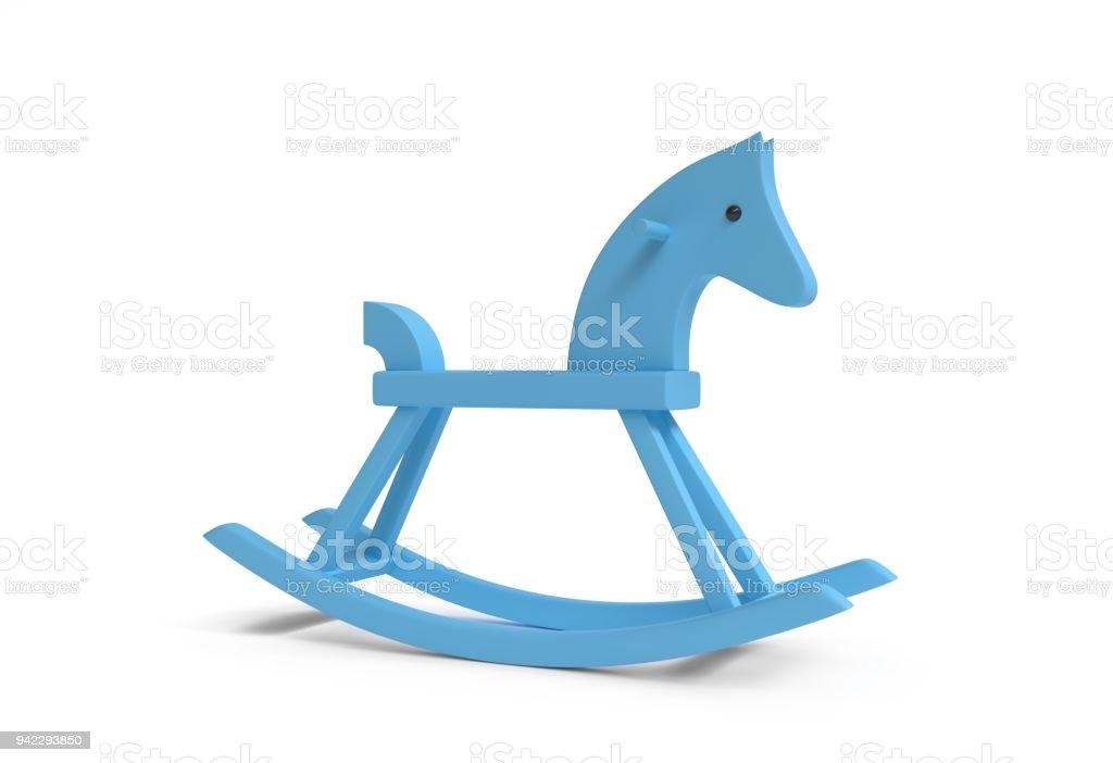 Rocking Horse Wooden Toy Blue Color White Background 3d Illustration