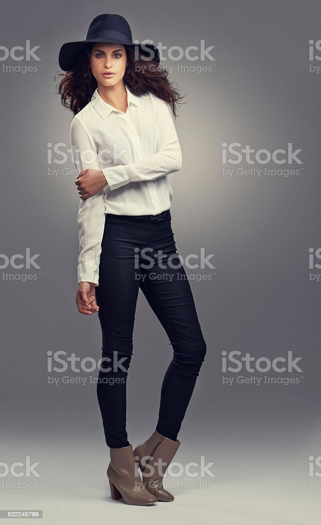 Rocking this outfit stock photo