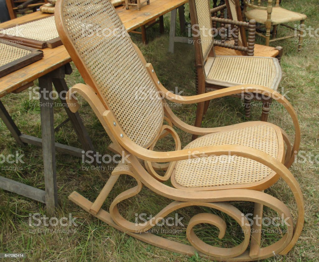 Phenomenal Rocking Wood Chair With Wicker Seat Stock Photo Download Machost Co Dining Chair Design Ideas Machostcouk