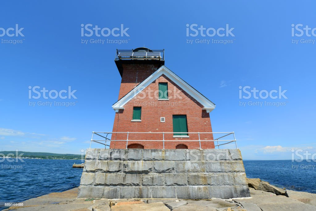 Rockland Harbor Breakwater Lighthouse, Rockland, ME, USA stock photo