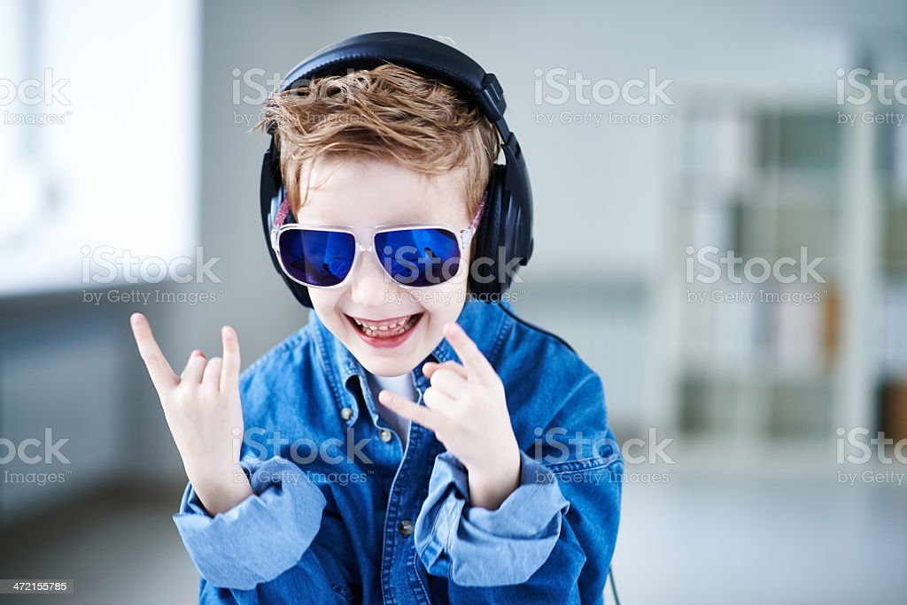 Rock'n'roll kid stock photo