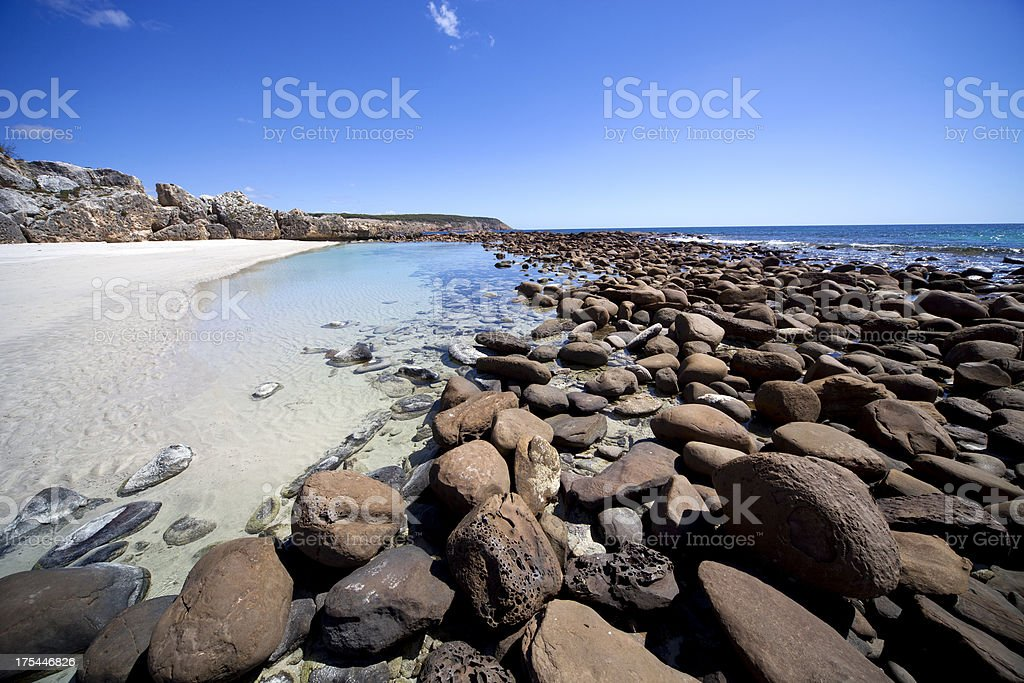 Rockpool in Stokes Bay, Kangaroo Island stock photo