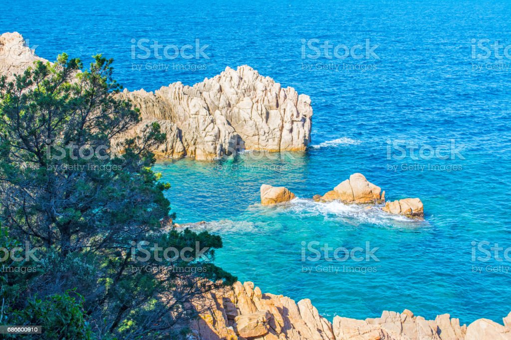 Rocks and blue water royalty-free stock photo