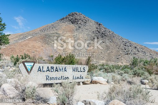 Lone Pine, California - May 26, 2018: Rocks and boulders in the Alabama Hills Recreation Area near Lone Pine California in the Eastern Sierra Nevada Mountains.