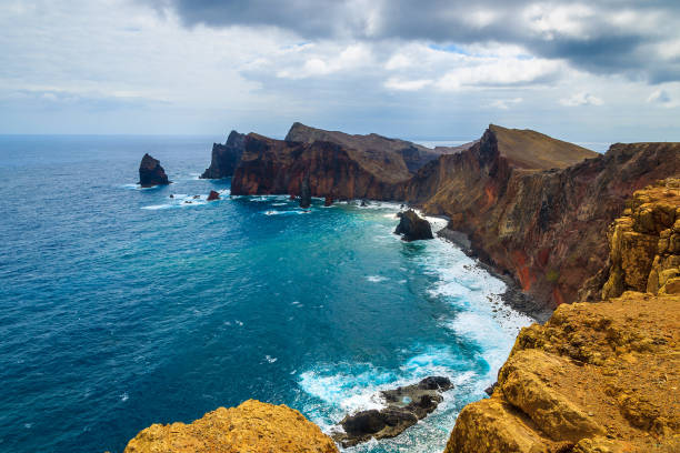 Rocks and cliffs and ocean view at Ponta de Sao Lourenco, Madeira island, Portugal stock photo
