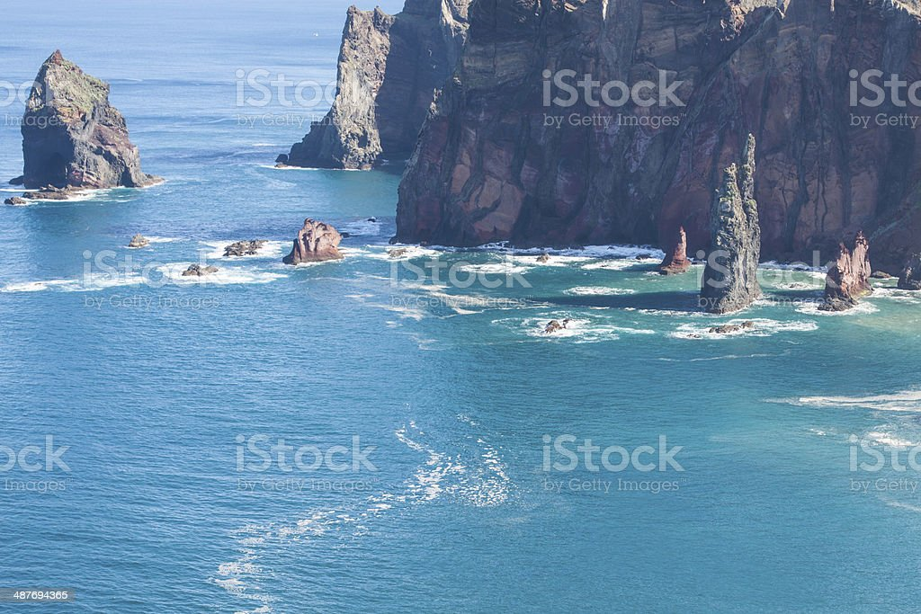 Rocks and cliffs at Cabo sao Lorencio Madeira Portugal royalty-free stock photo