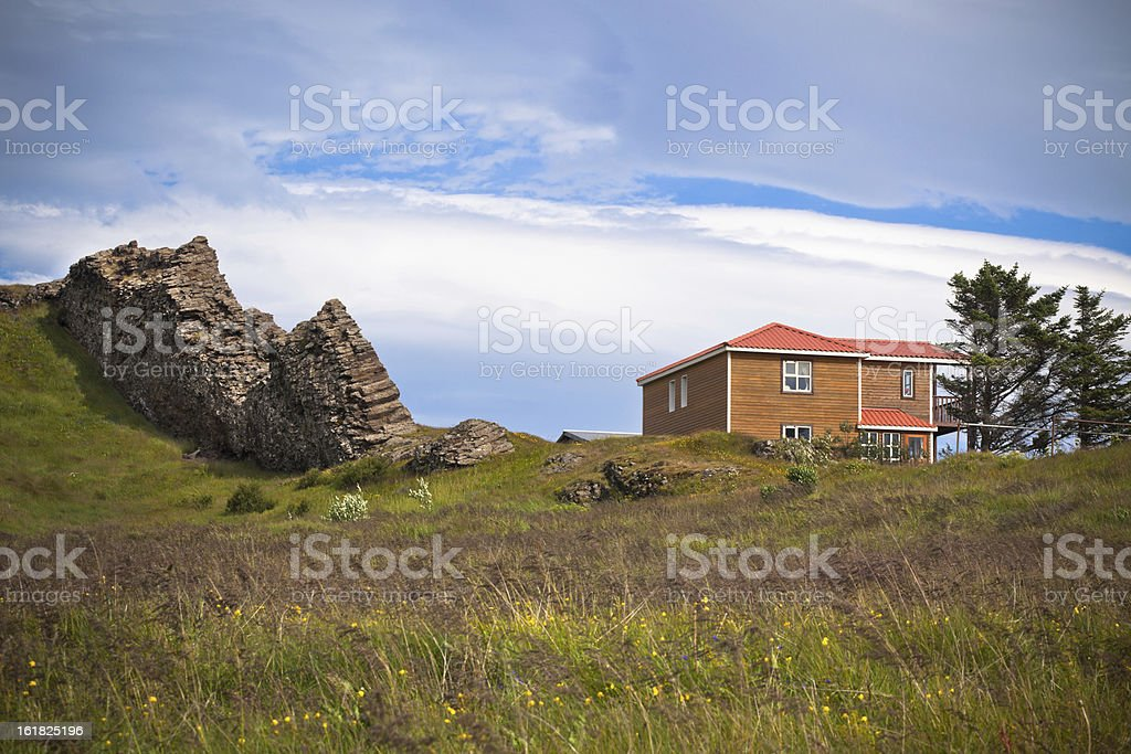 Rocks and House in East Iceland stock photo