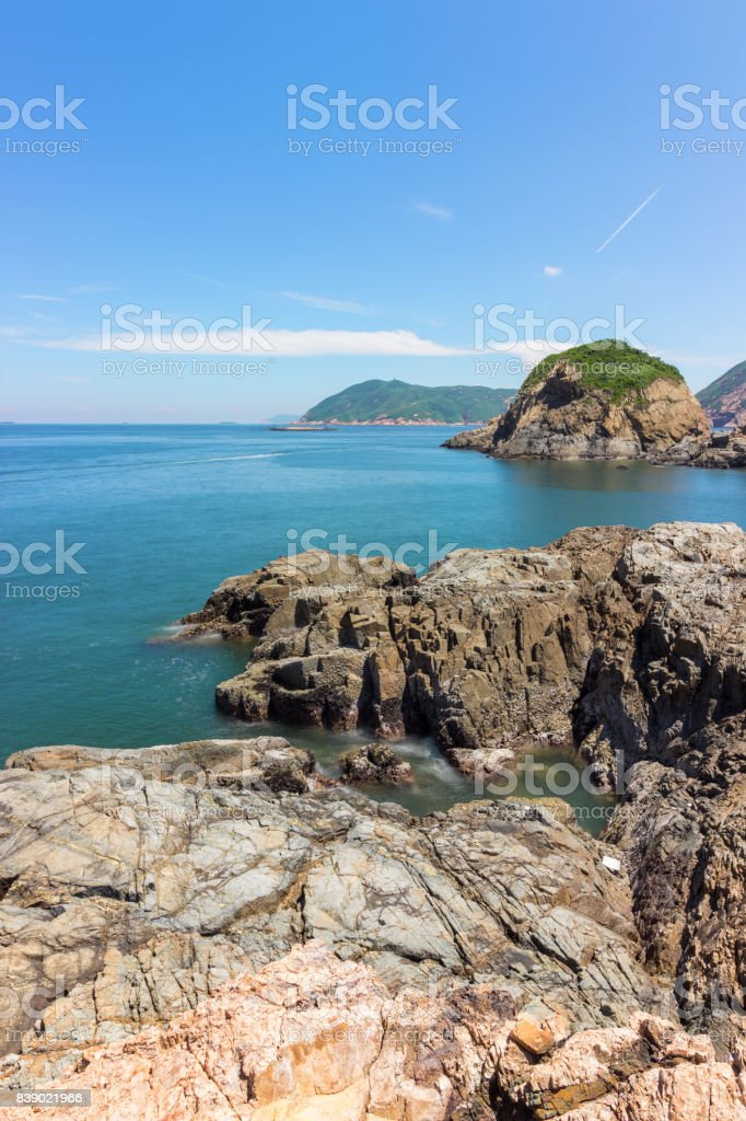 Rocks and islands on the sea stock photo