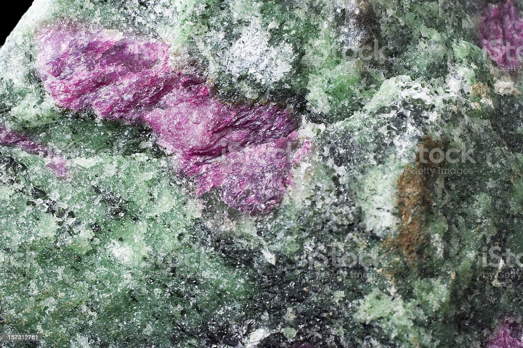 Rocks and Minerals - Red Corundum (Ruby) in Zoisite stock photo