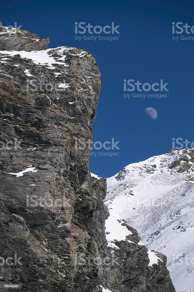 Rocks and Moon royalty-free stock photo