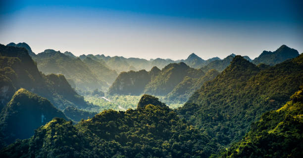 Rocks and mountains of Cat Ba Island in Vietnam. Panoramic landscape. Vietnam. stock photo
