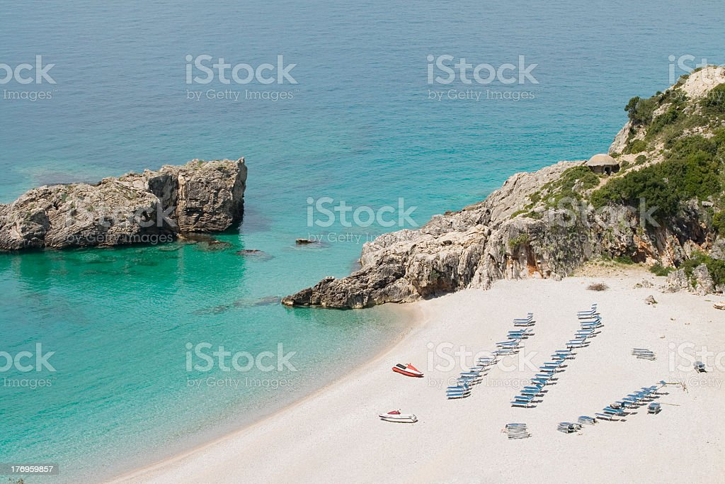 Rocks and pebbly beach in south of Albania,Jale. stock photo