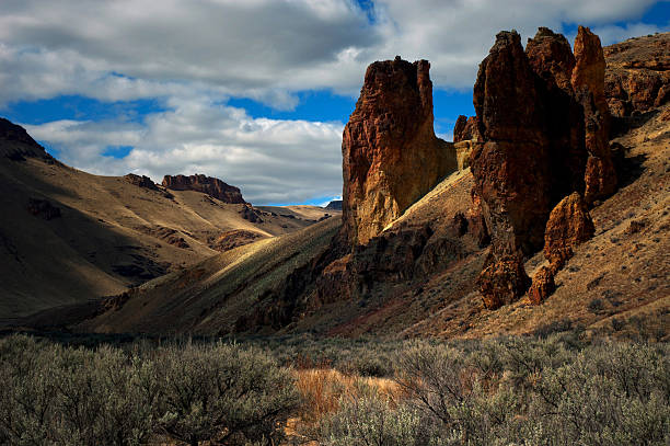 Rocks and Sage at Leslie Gulch in Eastern Oregon stock photo