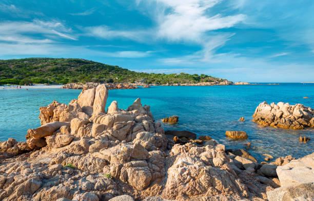 Rocks and sand in Liscia Ruja beach, Costa Smeralda stock photo