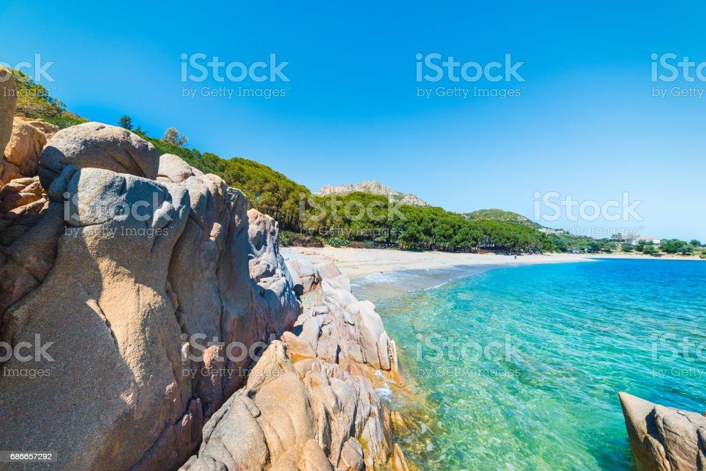 Rocks and sand in Santa Maria Navarrese beach royalty-free stock photo