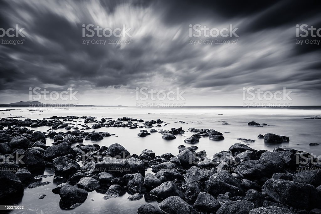 Rocks and Sea in Black & White, Canary Island royalty-free stock photo