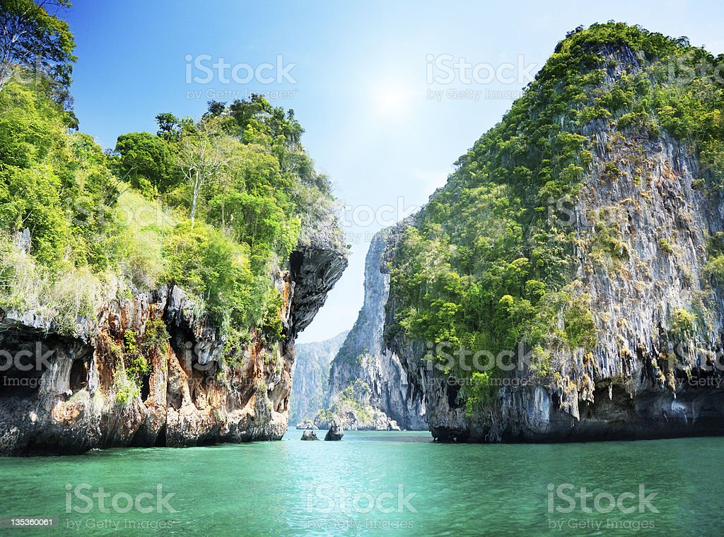 rocks and sea in Krabi Thailand stock photo