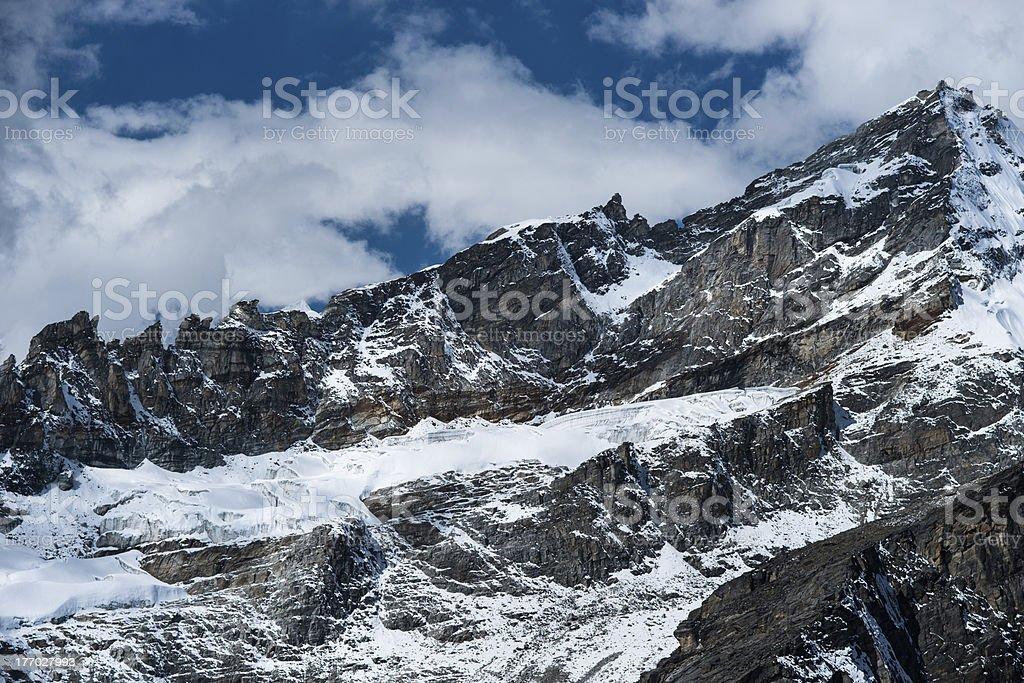 Rocks and snow viewed from Gokyo Ri summit in Himalayas royalty-free stock photo