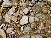 rocks and pebbles in a river bed