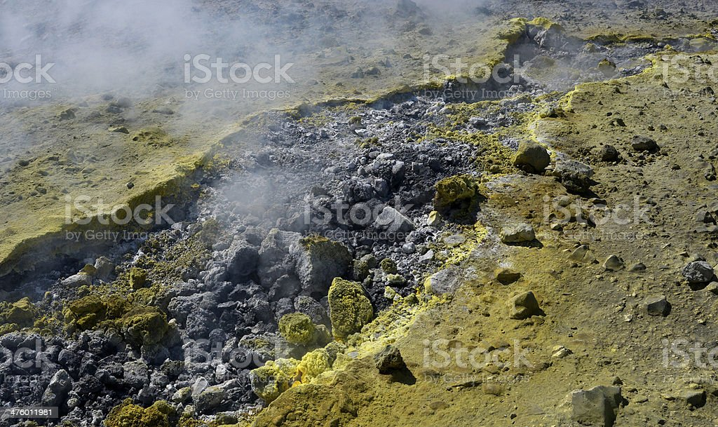 Rocks and Sulphur at the Island of Vulcano, Aeolian royalty-free stock photo