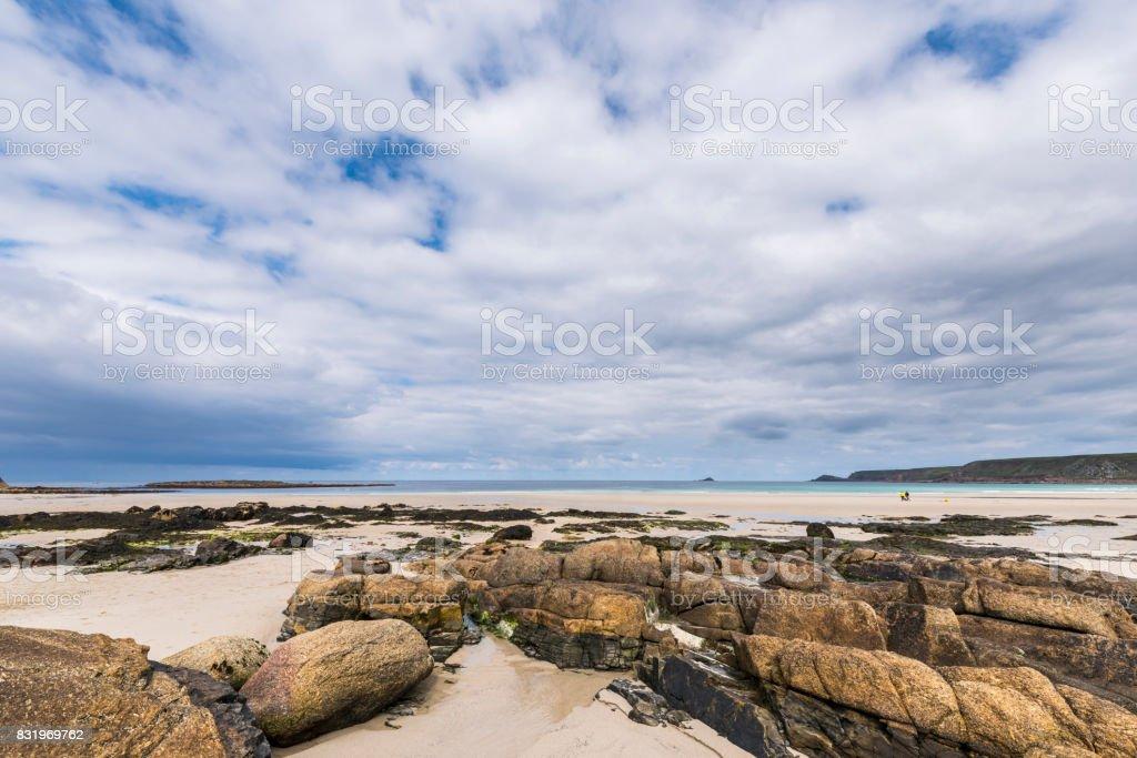 Rocks at Beach Sennen stock photo