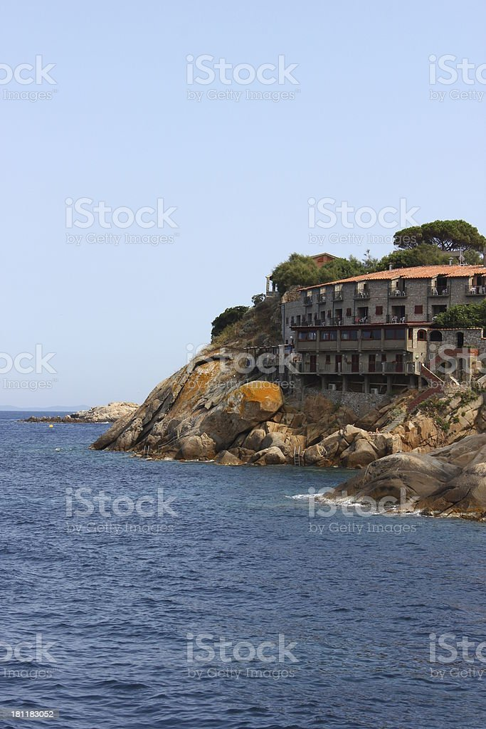 Rocks at Giglio Harbour. stock photo