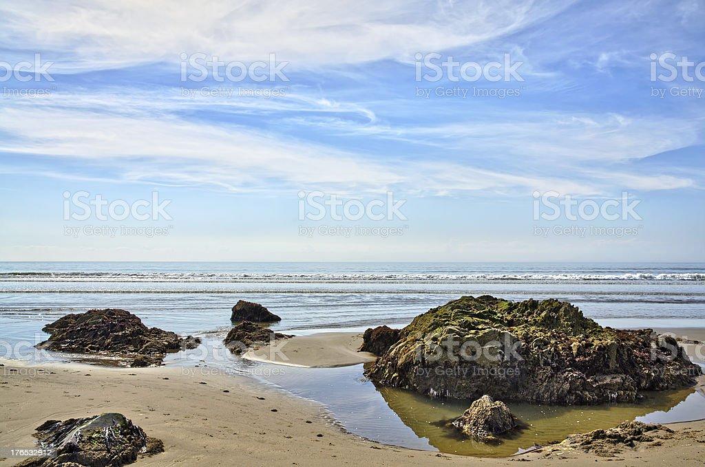 Rocks at Killantringan Bay looking out to sea stock photo