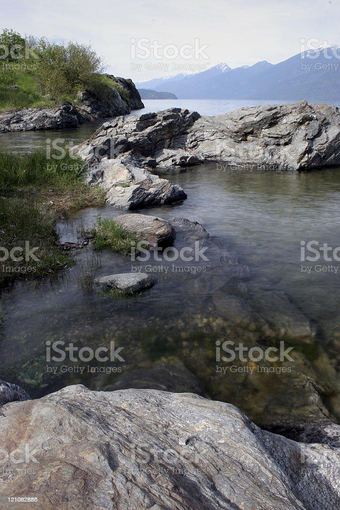 Rocks at the lakes edge. royalty-free stock photo