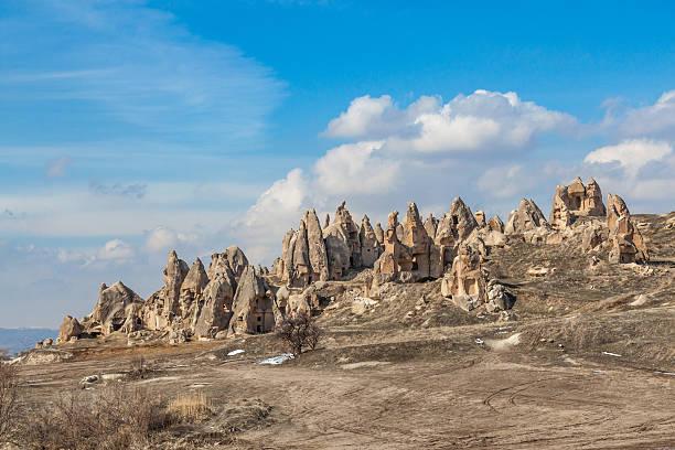 Rocks between Goreme and Chavushin, Cappadocia, Turkey stock photo