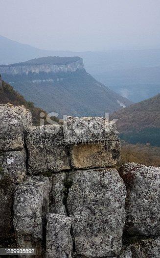 istock Rocks in Crimea. The rocks of rocks of Crimea. The output of limestone sediment 1289935892