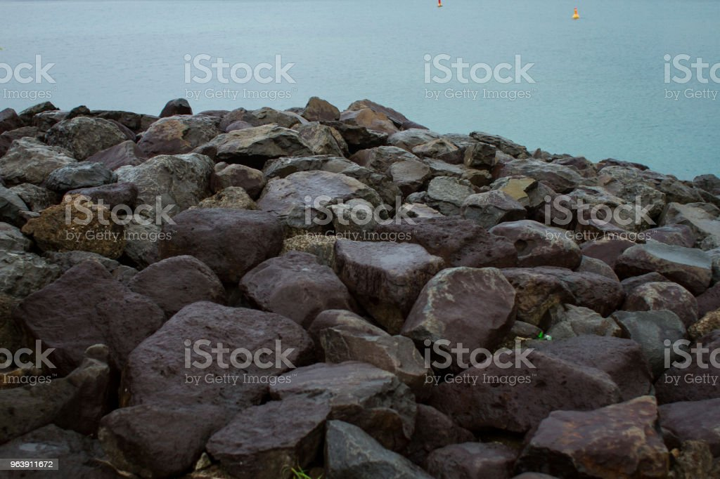 Rocks in front of Ocean stock photo