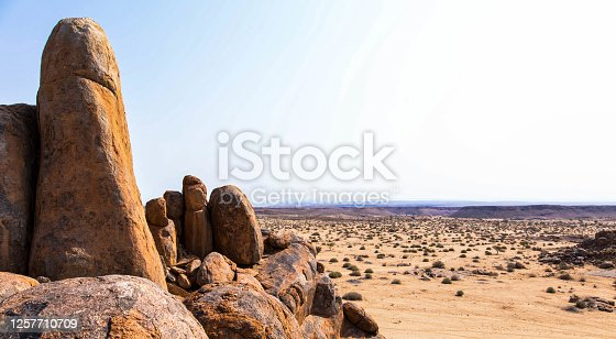 Stacked dolerite boulders at giants playground, Keetmanshoop Namibia