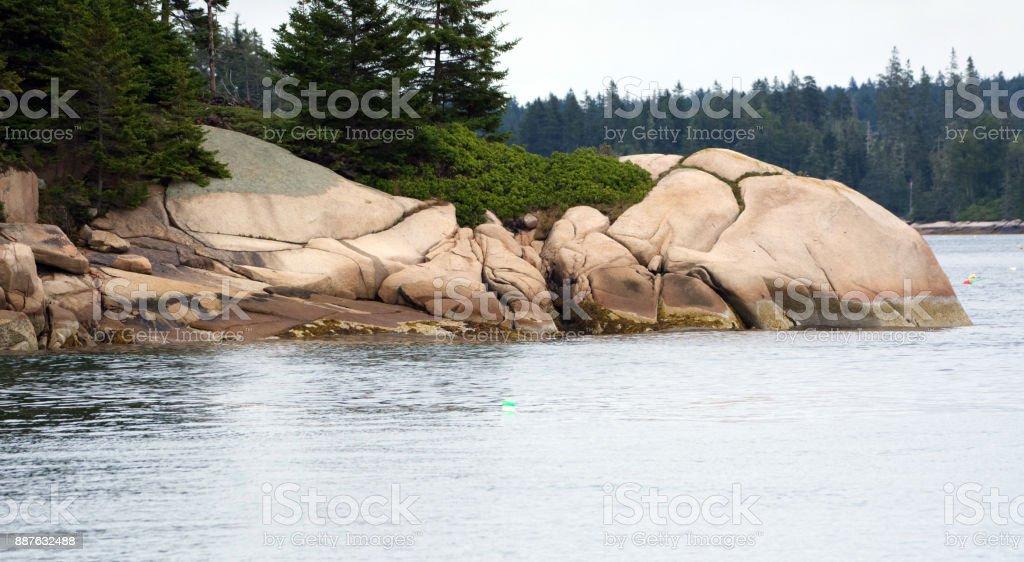 Rocks in Penobscot Bay stock photo