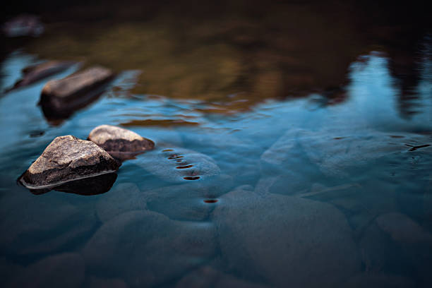 rocks in slow rinnig stream - river stock pictures, royalty-free photos & images
