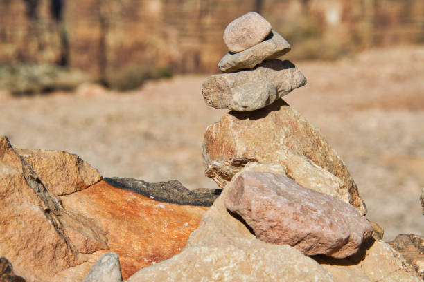 Rocks in the desert stacked together. stock photo