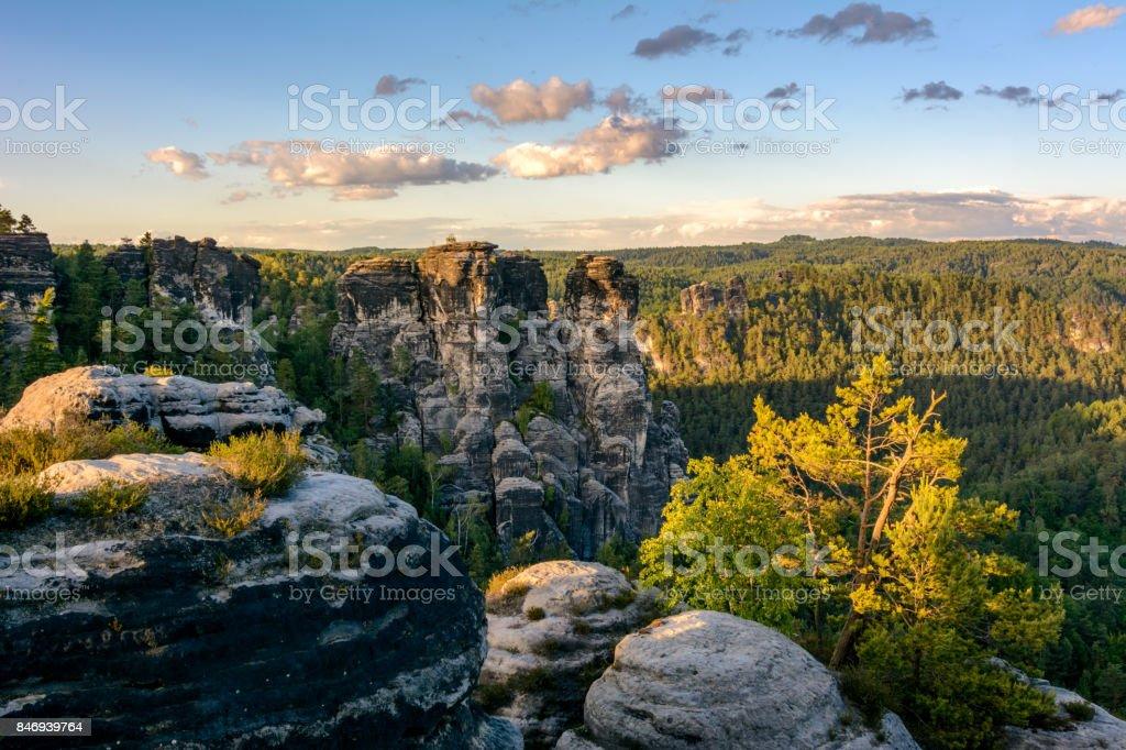 Rocks in the Germany national park. Saxon Switzerland national park, Saxony stock photo