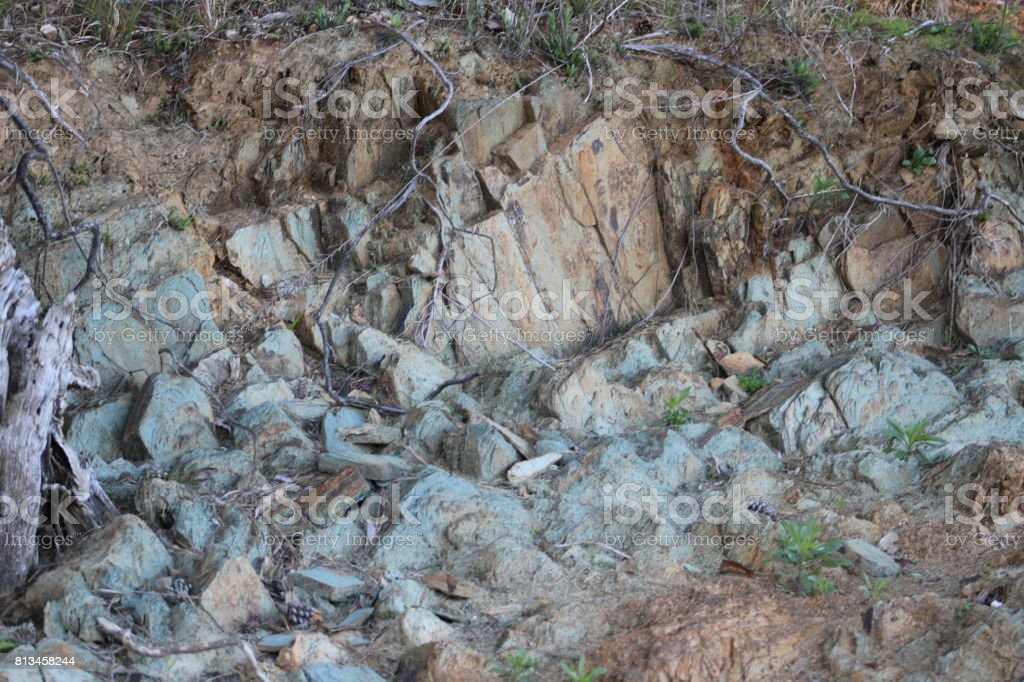 Rocks in the ground stock photo