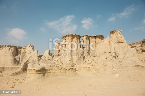 View of the magnificent rocks in the Iran desert canyon.