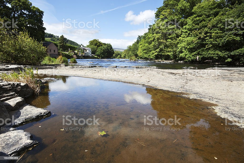 Rocks in the River Dee at Llangollen, Wales royalty-free stock photo