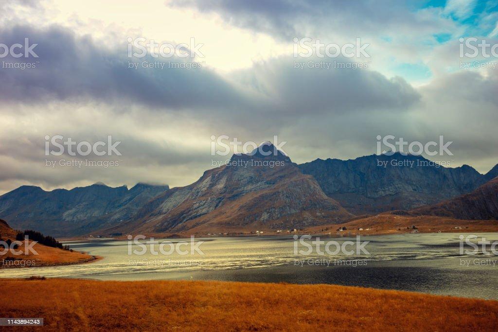 Rocks in the sea on horizon. Beautiful rocky sea landscape in...