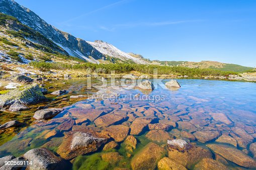 870409146 istock photo Rocks in water of a beautiful alpine lake in Gasienicowa valley in autumn season, High Tatra Mountains, Poland 902569114