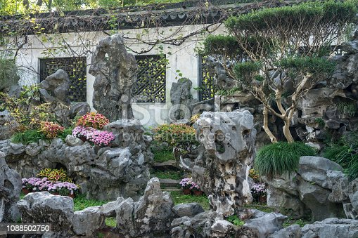 Ornamental rock garden in Yu or Yuyuan Garden in  the old city of Shanghai