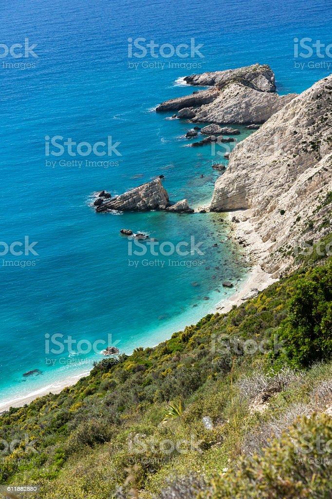 Rocks near Petani Beach, Kefalonia, Greece stock photo